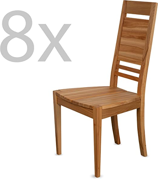 Staboos Ch03 Dining Room Chairs Set Of 8 Chairs Upholstered Chairs Up To 130 Kg Wooden Dining Room Kitchen Chairs Wood Natural Oiled Set Of 8 Amazon De Kuche Haushalt