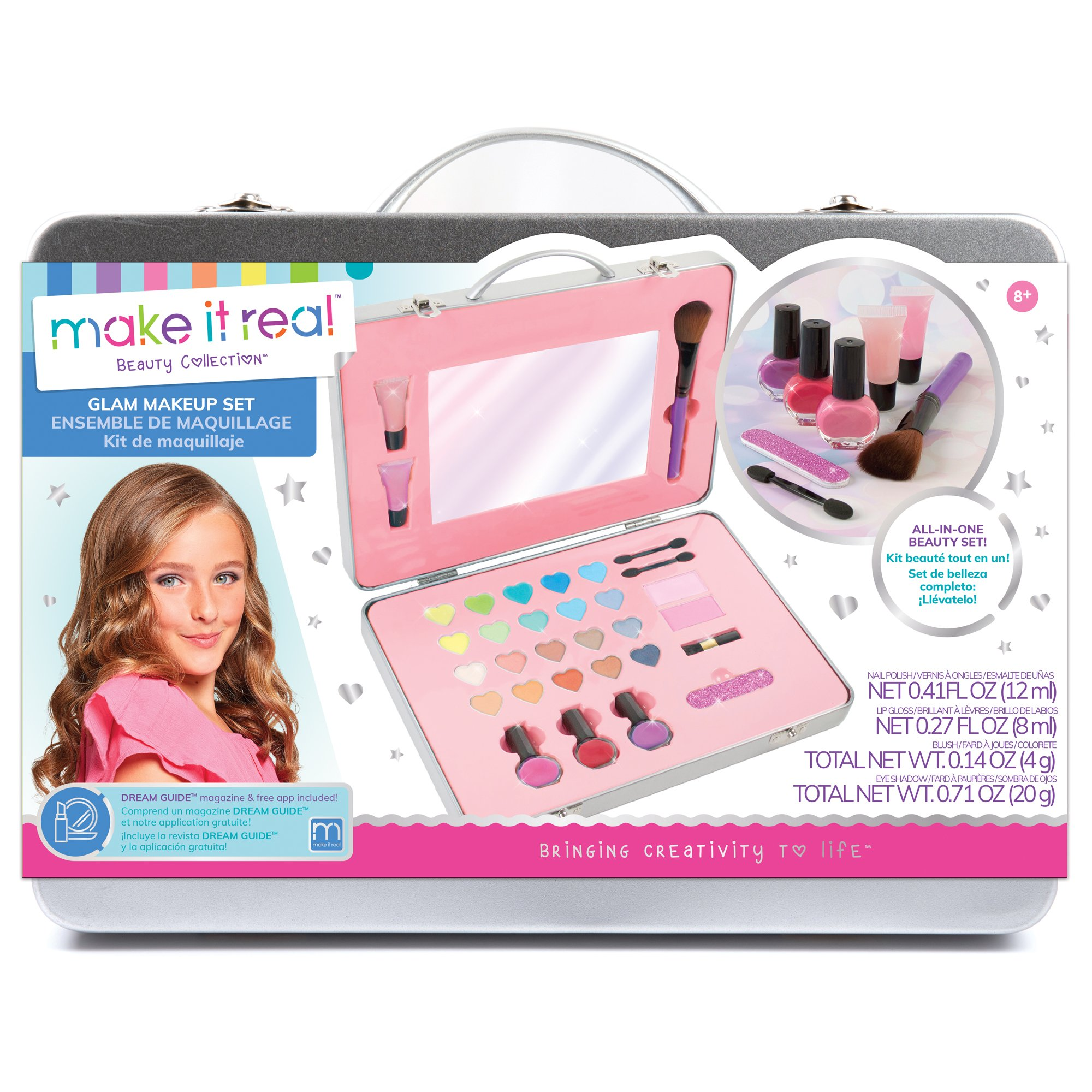 Make It Real - All-in-One Glam Makeup Set. Girls Makeup Kit is a Perfect Starter Cosmetic Set for Kids and Tweens. Includes Case, Mirror, Eye Shadow, Blush, Brushes, Lip Gloss, Nail Polish and More by Make It Real