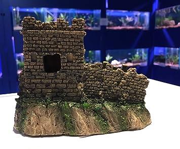 Tradicional castillo torreta y pared acuario pecera adorno del ...