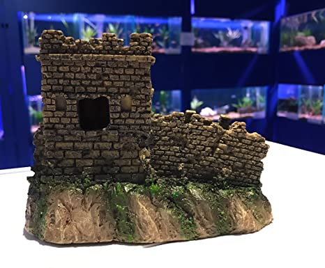 Tradicional castillo torreta y pared acuario pecera adorno del tanque