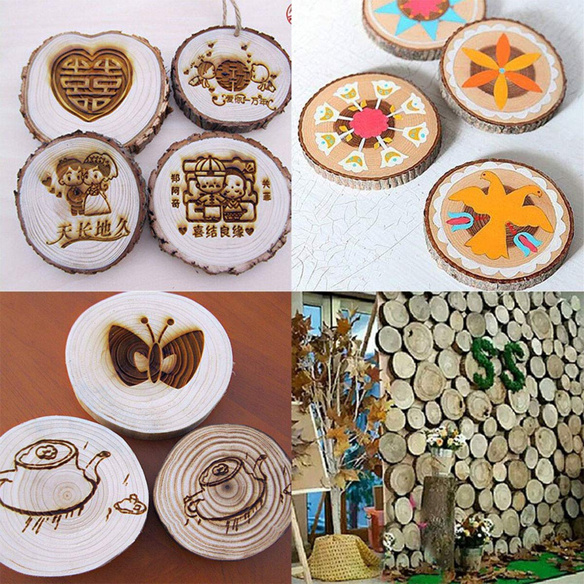 Yardwe 100pcs /Étiquettes Rondes en Bois Noel Tranches de Bois Naturel Brut 1.5-3cm Decoration Confettis en Bois Mariage Centre de Table DIY Artisanat Mariage