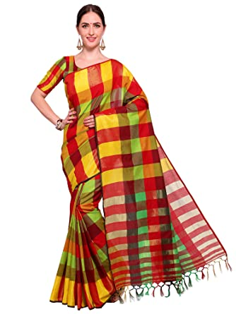 de82f91fbe4a5 SAREE MALL Women S Cotton Silk Saree With Blouse Piece (Red   Yellow  (Multi) Free Size )  Amazon.in  Clothing   Accessories
