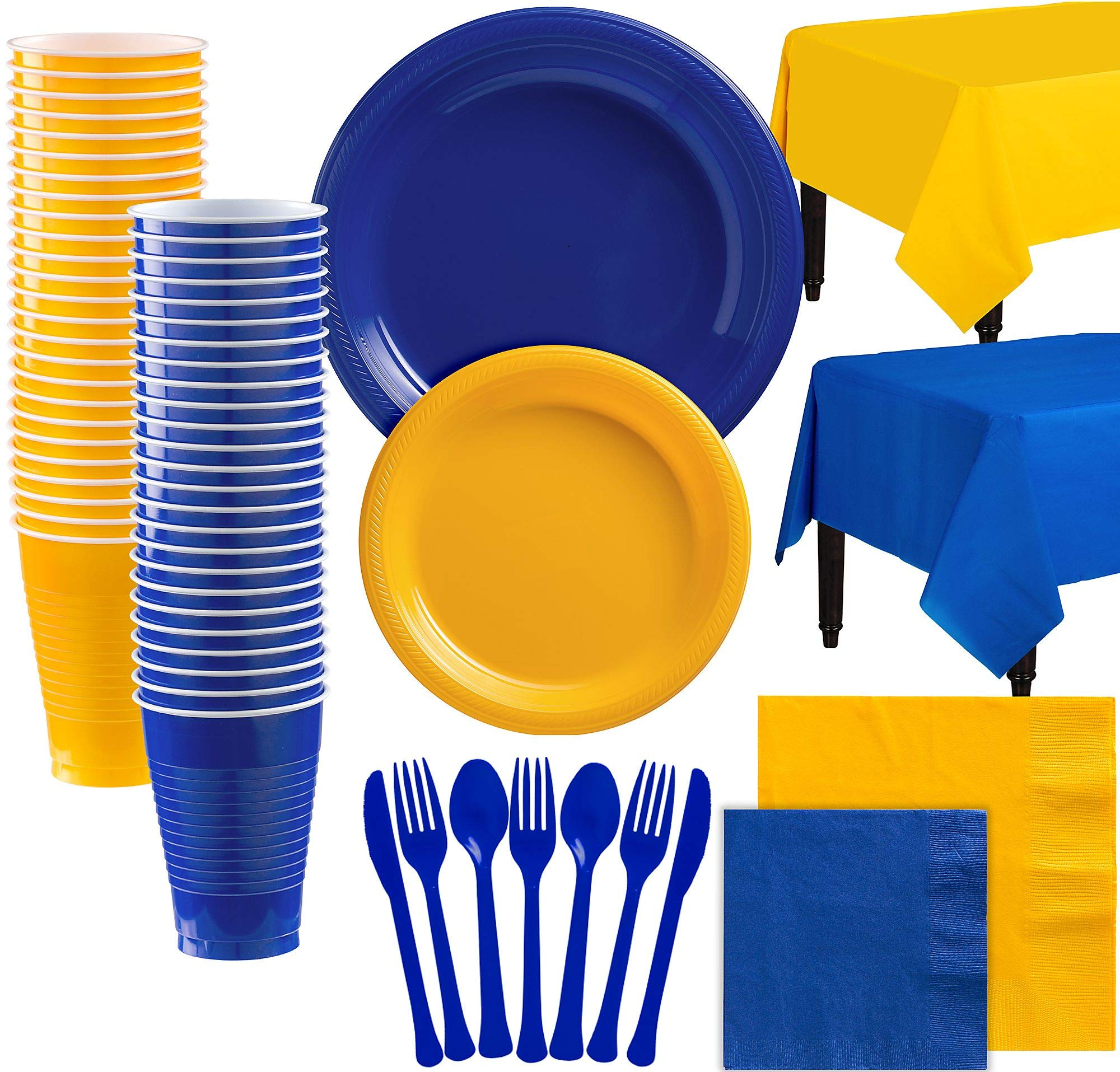 Party City Royal Blue and Sunshine Yellow Plastic Tableware Kit for 100 Guests, 852 Pieces, Includes Plates and Cups