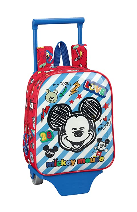 "Mickey Mouse ""Maker"" Oficial Mochila Guardería Con Carro Safta, 220x100x270mm"