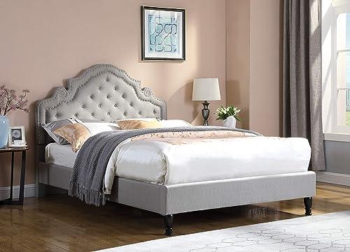 Best Master Furniture Ilena Upholstered Fabric Platform Bed