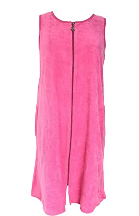 833835b8cf339 Nu Deals Full Zipper Terry Cloth Swim Wear Cover-up (Large, Pink) at Amazon  Women's Clothing store: