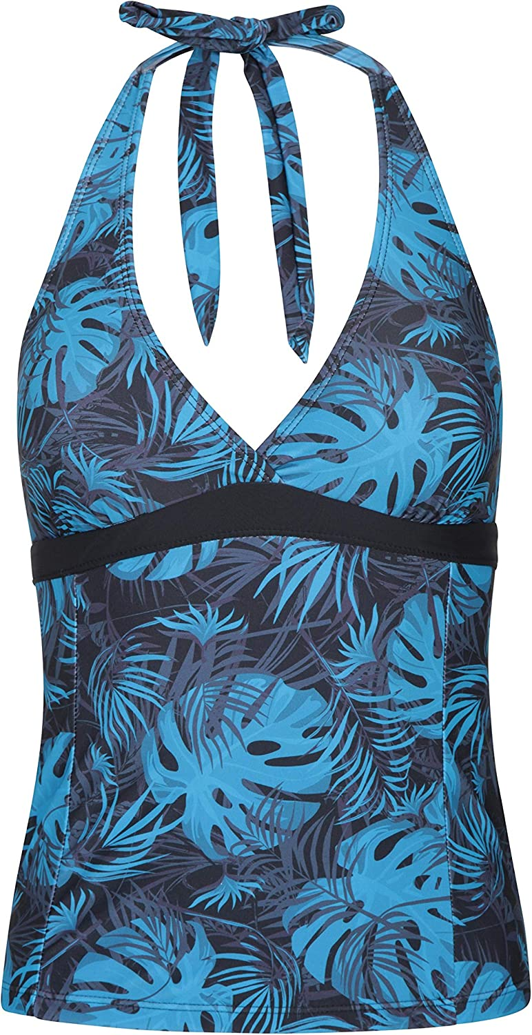 Quick Drying Swimwear Halter Neck Tank Top Mountain Warehouse Ocean Notion Womens Tankini for Summer Holidays Removable Bra Cups Lightweight Ladies Swimsuit