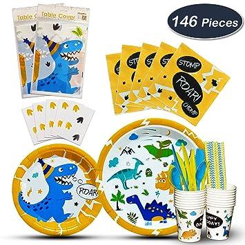 WERNNSAI Vajilla de Dinosaurio Set - Suministros para la Fiesta para Chicos Niños Cumpleaños Baby Shower