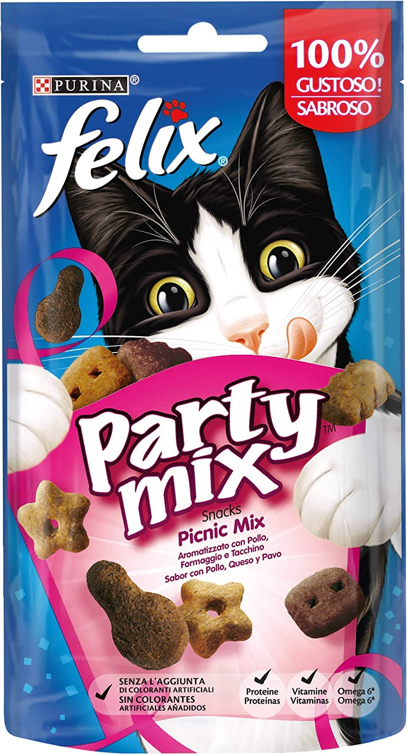Purina Felix Party Mix Picnic Snacks, golosinas y chuches para gato 8 x 60 g