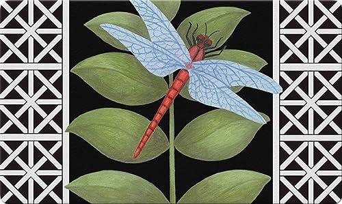 Toland Home Garden Dragonfly on Black 18 x 30 Inch Decorative Floor Mat Leaf Animal Lattice Doormat