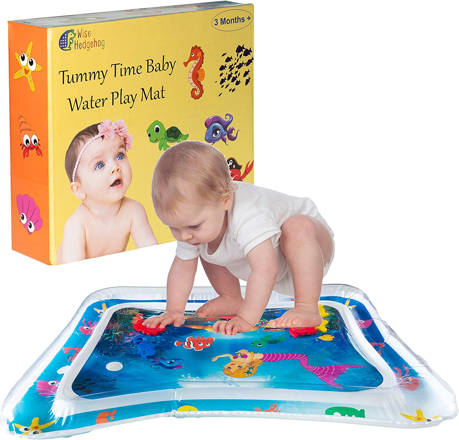 Great for 3 6 9 Month Girl Boy Inflatable Baby Water Play Mat Magical Underwater Scene Baby Will Love Wise Hedgehog Tummy Time Mat