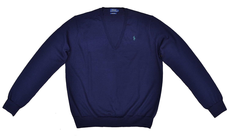 ba42bd018ddd RALPH LAUREN pull femmes Eloise col en V bleu foncé bleue marine mérinos  laine laine (L)  Amazon.fr  Vêtements et accessoires