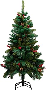 PARANTA 4FT Christmas Tree with Pine Cone and Red Berries Decoration Unlit, 308 Branch Tips, Artificial Tree
