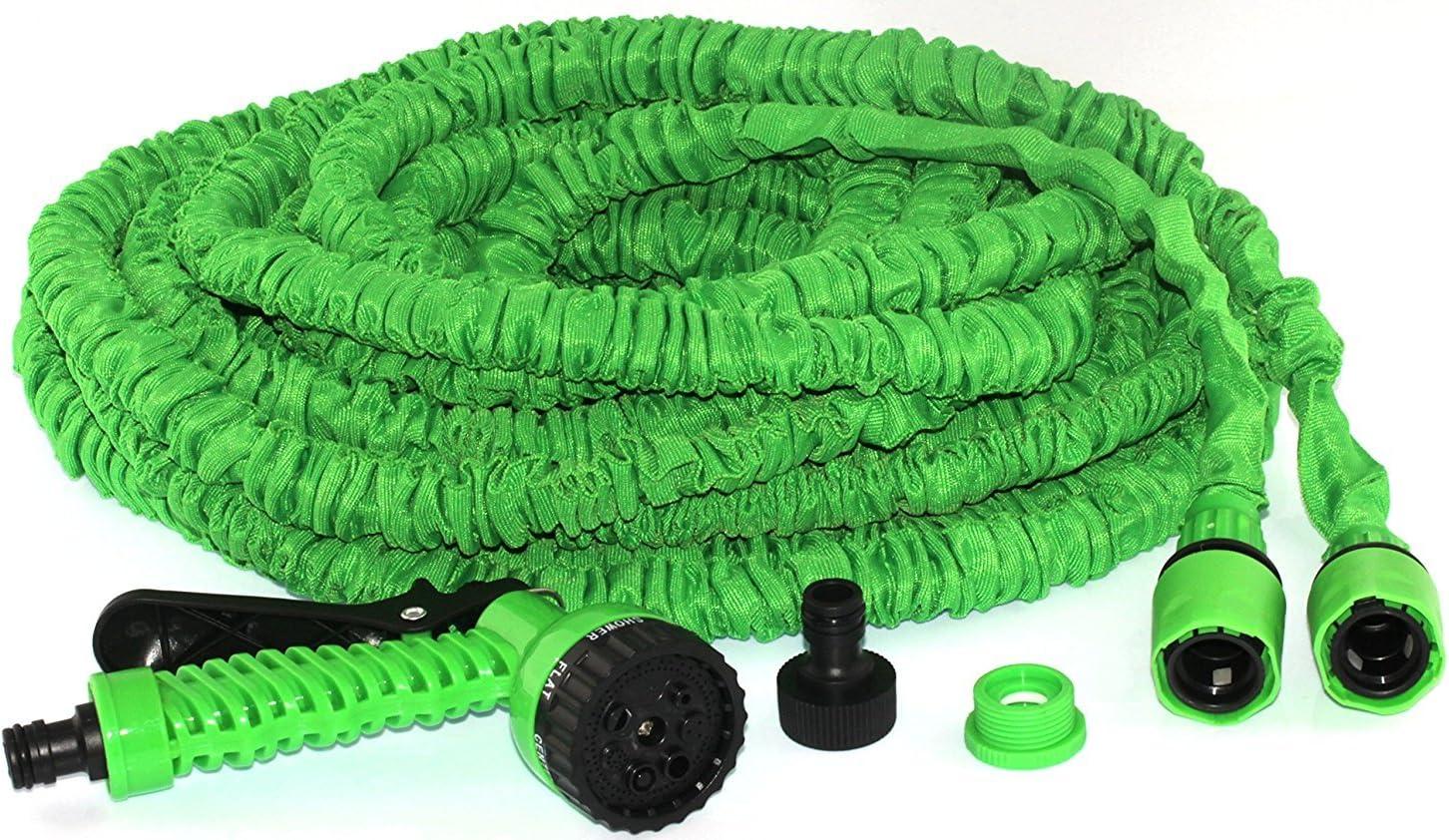 Tivoli manguera de jardín / 100ft/30m de Manguera Flexible Ampliable Jardín / Adaptadores de manguera de latón sólido / Pistola de pulverización / Color: Verde.: Amazon.es: Hogar