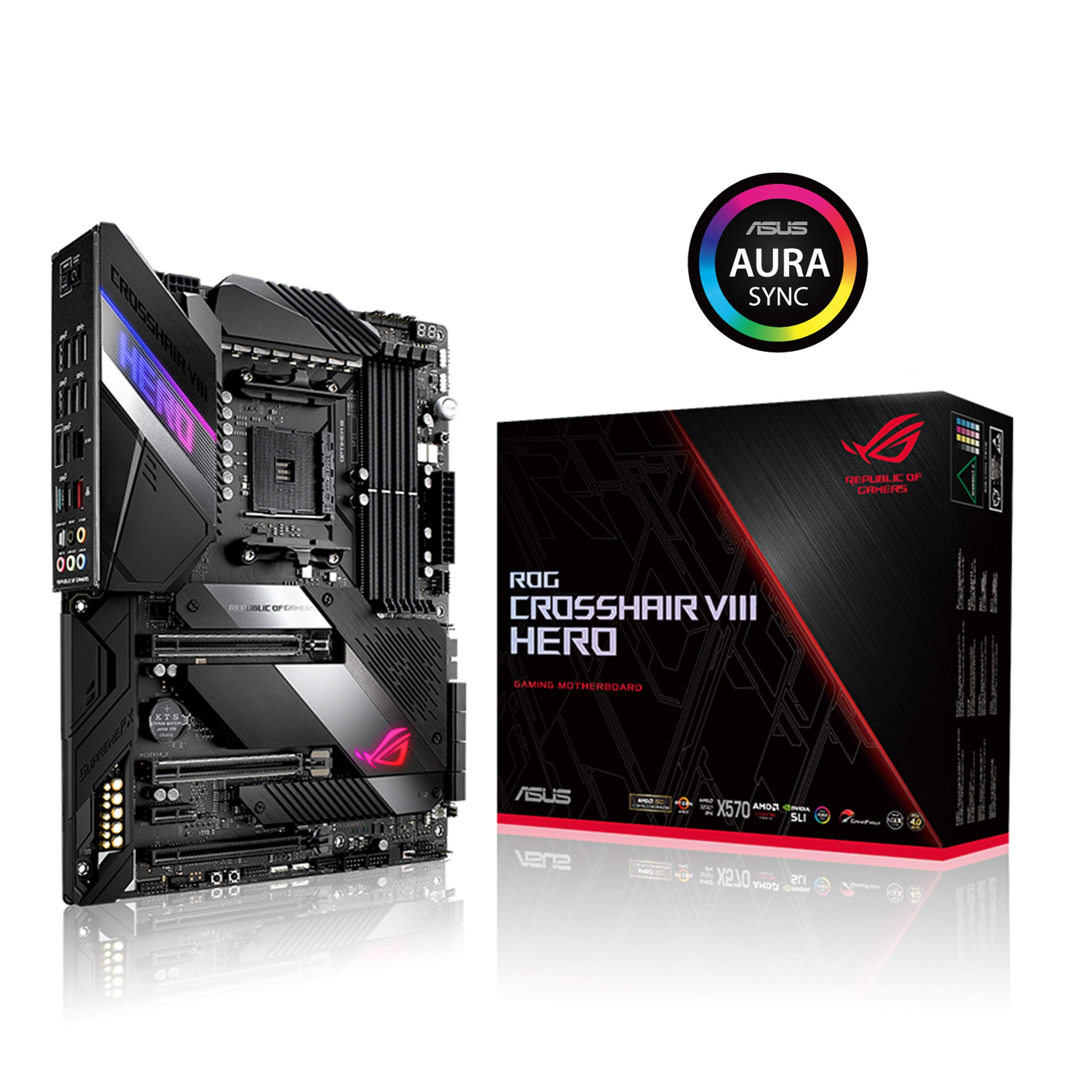 ASUS ROG Crosshair VIII Hero X570 ATX Motherboard with PCIe 4.0, Integrated 2.5 Gbps LAN, USB 3.2, SATA, M.2, Node and Aura Sync RGB Lighting by ASUS