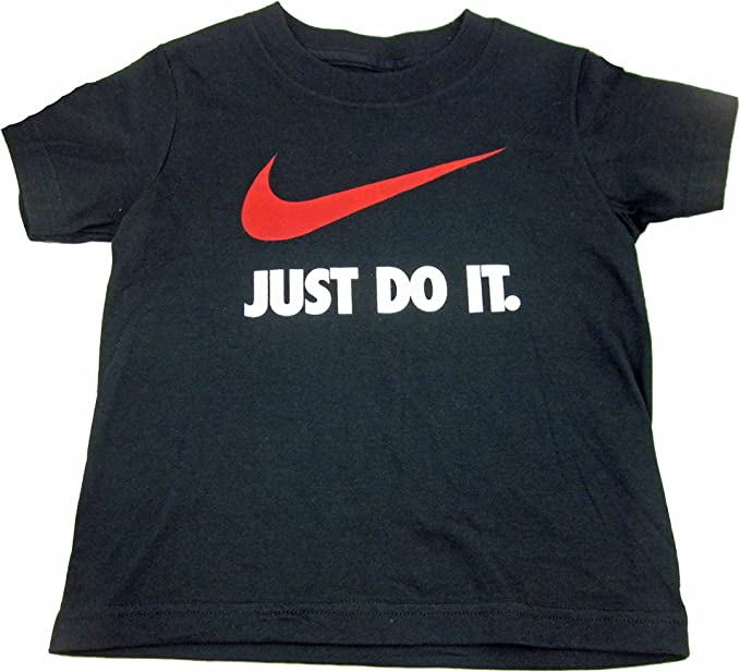 Nike Toddler Boys Size 3T T-Shirt White W//Black Swoosh Logo /& Just Do It in Red