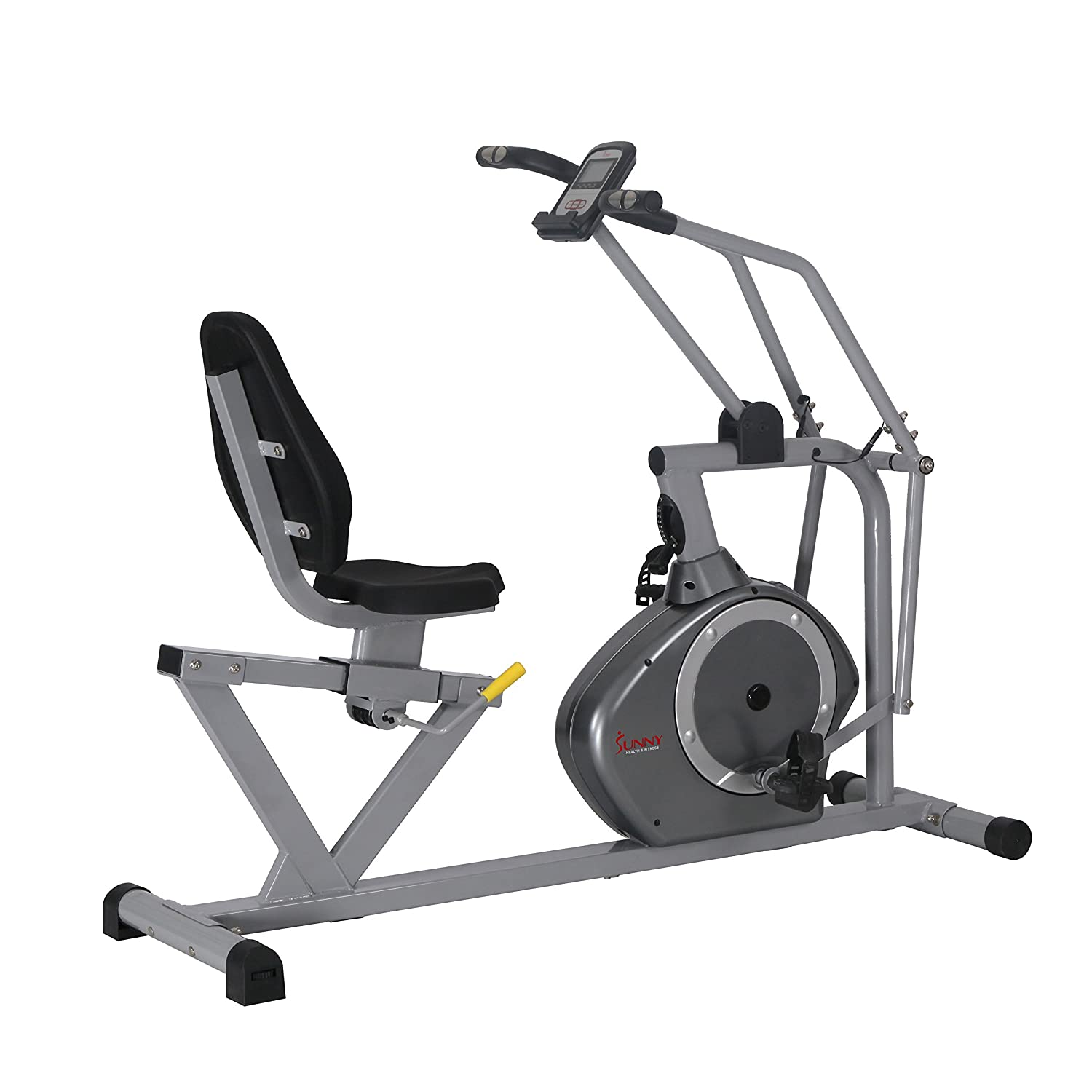 Sunny Health & Fitness磁気Recumbent Bike Exercise Bike、350lb高重量容量、クロストレーニング、アームExercisers、モニタ、パルスレート監視 – sf-rb4708   B072JHYQGC