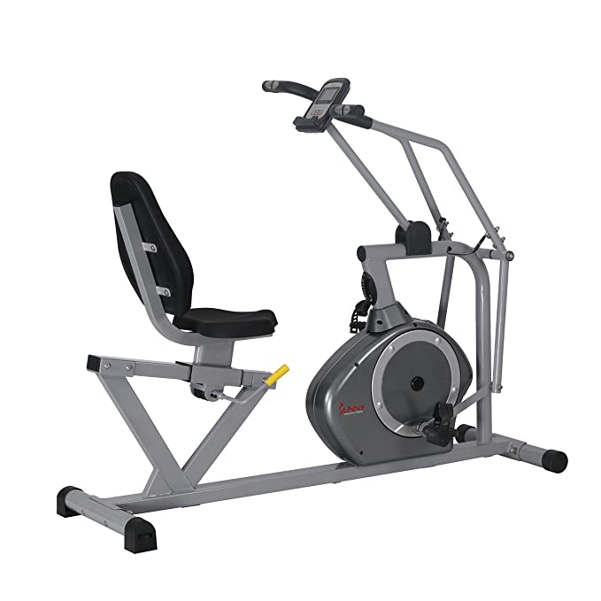 Sunny Health & Fitness Magnetic Recumbent Bike Exercise Bike, 350lb High Weight Capacity, Cross Training, Arm Exercisers, Monitor, Pulse Rate Monitoring - SF-RB4708 best recumbent bikes