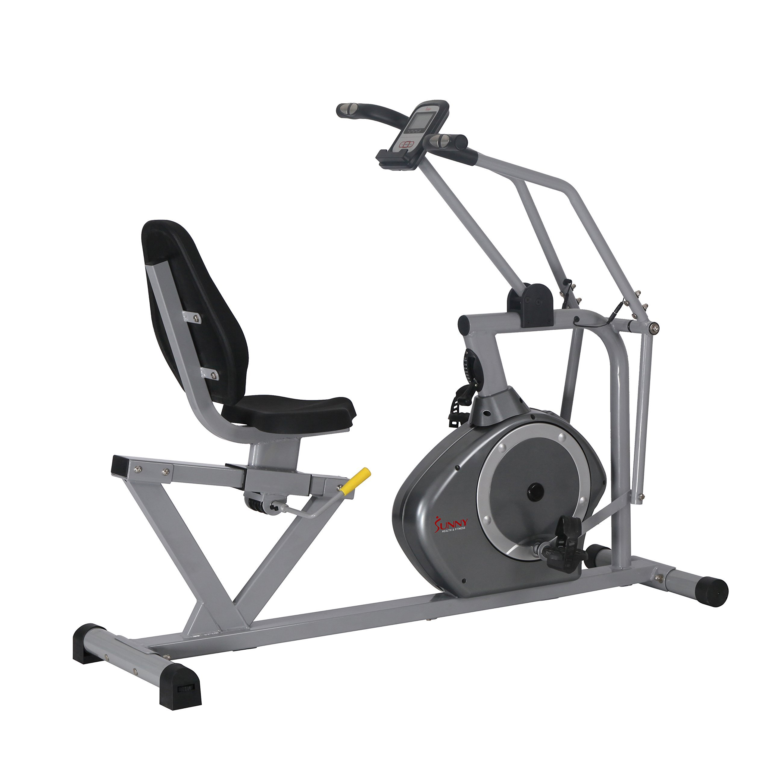 Sunny Health & Fitness Magnetic Recumbent Bike Exercise Bike, 350lb High Weight Capacity, Cross Training, Arm Exercisers, Monitor, Pulse Rate Monitoring - SF-RB4708 by Sunny Health & Fitness (Image #1)