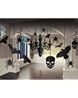 """Glitter Haunted House Chandelier Halloween Trick or Treaty Party Decorating Kit, Paper, 15"""" x 17"""", Pack of 17."""