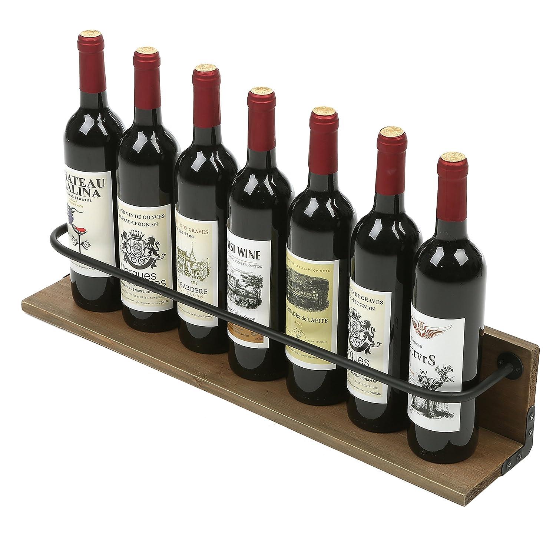 MyGift Wall Mounted Wine Bottle Holder Rack, Rustic Liquor Display Shelf,  Brown