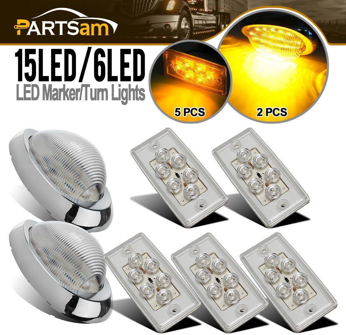 Freightliner Side Marker Turn Sealed LED Lights PAIR Amber//Clear 36 LED