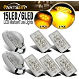 """Partsam Led Freightliner Century/Columbia Lights Kit, 5x Rectangle Clear/Amber 6 LED Cab Roof Top Clearance Marker Light for Volvo + 2x 5-7/8"""" Teardrop Sleeper Clear/Amber Clearance Marker Light 15Led"""