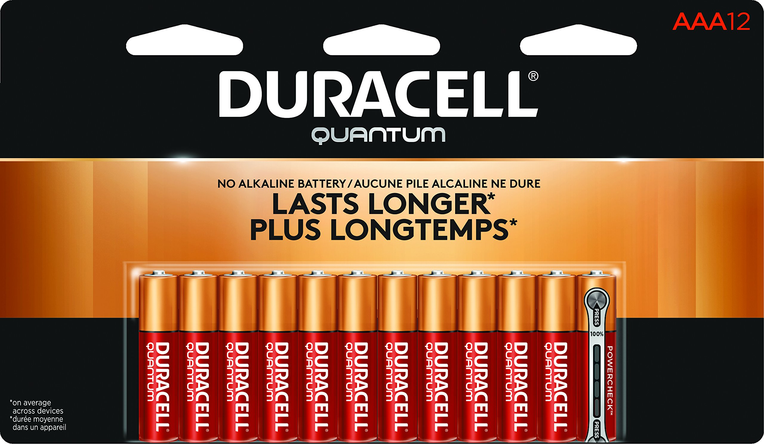 Duracell QU2400B12Z Quantum Alkaline Batteries with Duralock Power Preserve Technology, AAA Size, 1.5V (Pack of 12)