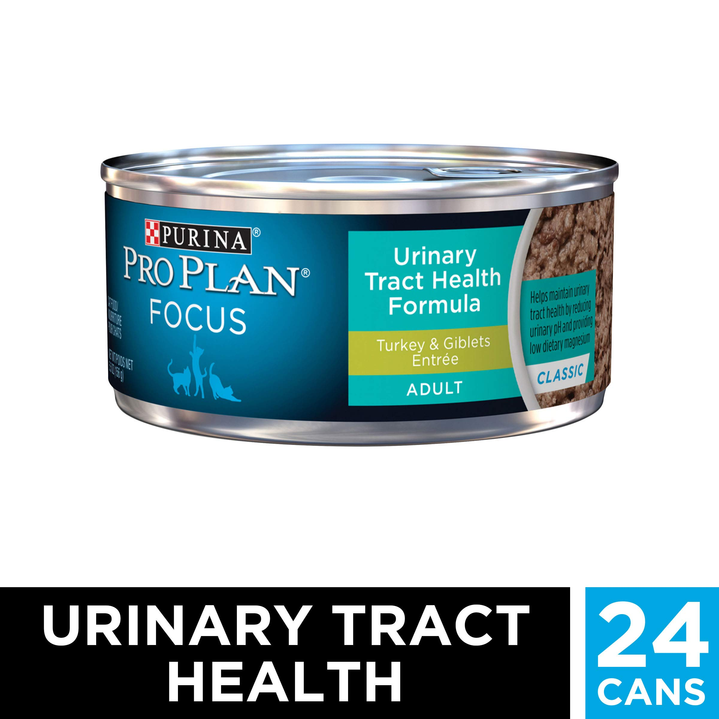 Purina Pro Plan Urinary Tract Health Pate Wet Cat Food, FOCUS Urinary Tract Health Formula Turkey & Giblets Entree - (24) 5.5 oz. Cans by PURINA Pro Plan