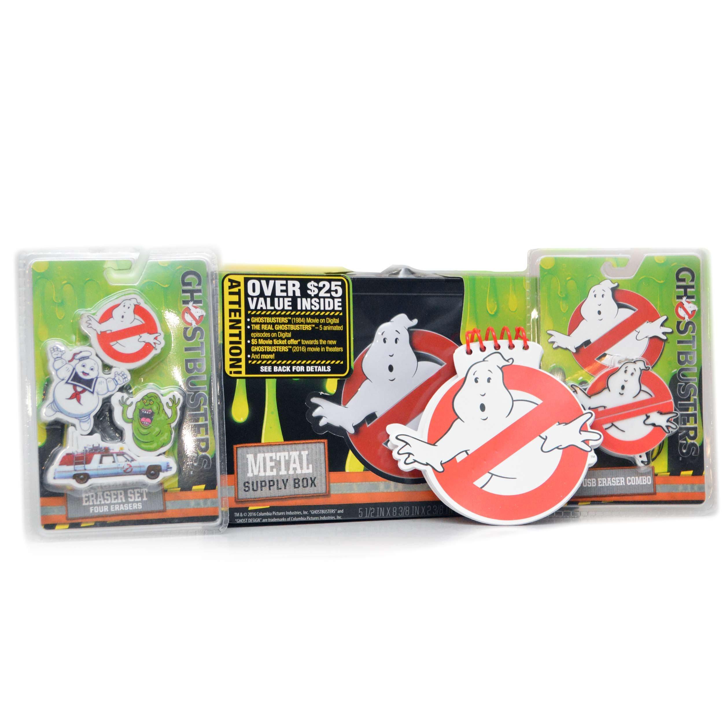 Ghostbusters School SPIRIT Bundle: Metal School Supplies Storage Box, 1 GB Eraser USB Combo, 1 Spiral Notepad, 3 Erasers: Ecto-1 Stay Puft Slimer, 1984 & $5 off Pre-Order, 5 Ep of GB Cartoon