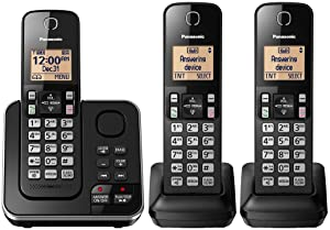 Panasonic KX-TGC363B / KX-TG633SK Dect 6.0 3 Handset Landline Telephone (Renewed) (KX-TGC362B +1)