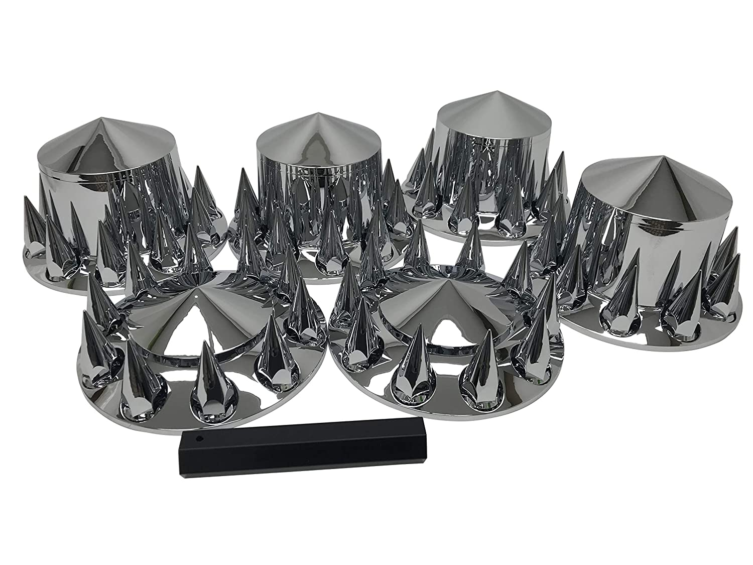 Wheel Cover Kit Chrome Front & Rear Complete 33mm Spiked Lug Covers Semi Truck Eagle Products
