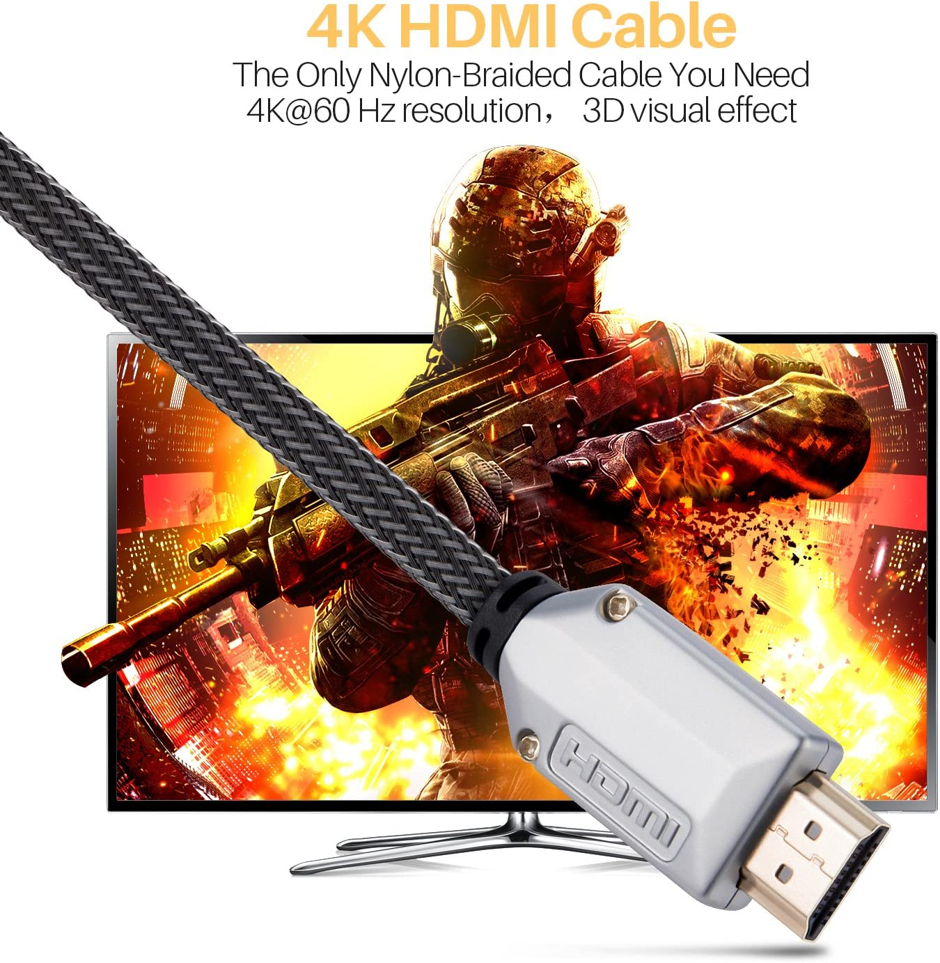 Ethernet//Audio Return Playstation PS4 PC - HDMI 2.0 Video 4K 2160p HD 1080p 3D Ready 4K @ 60Hz HDMI Cable Gold Plated Connectors 6ft 30AWG Braided Cord High Speed 18Gbps TV