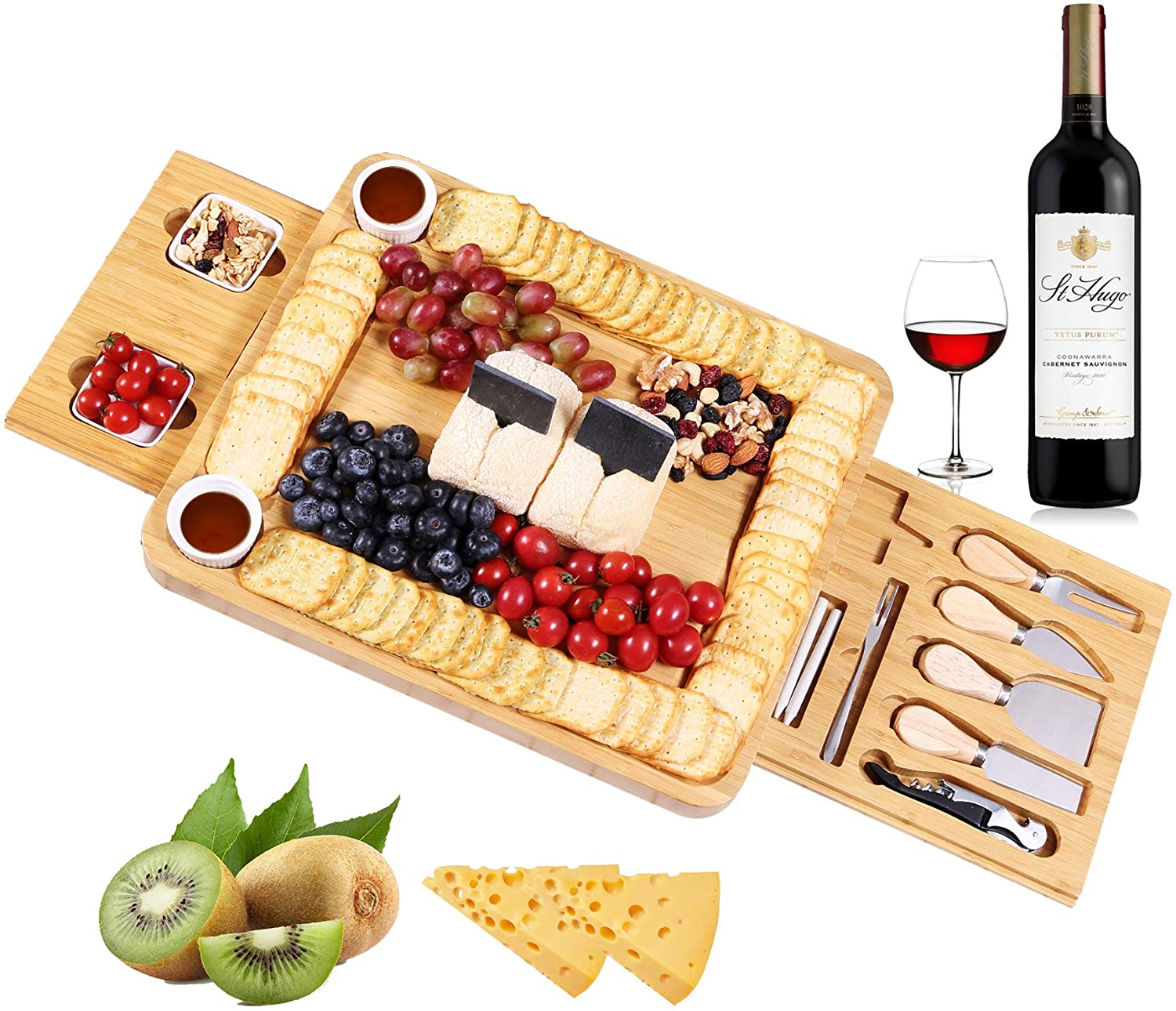 InnoStrive Cheese Board 100% Organic Bamboo Charcuterie Board 16 x 13 x 2 Inch Cheese Platter With Cutlery In Double Slide-Out Drawer For Wine, Cheese, Meat