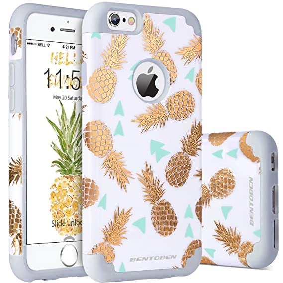 competitive price bcf5a 31fe9 iPhone 6S Plus Case, iPhone 6 Plus Case Pineapple, BENTOBEN Slim Gold  Pineapple Design Dual Layer Hybrid Shockproof Hard Back Bumper Protective  Case ...