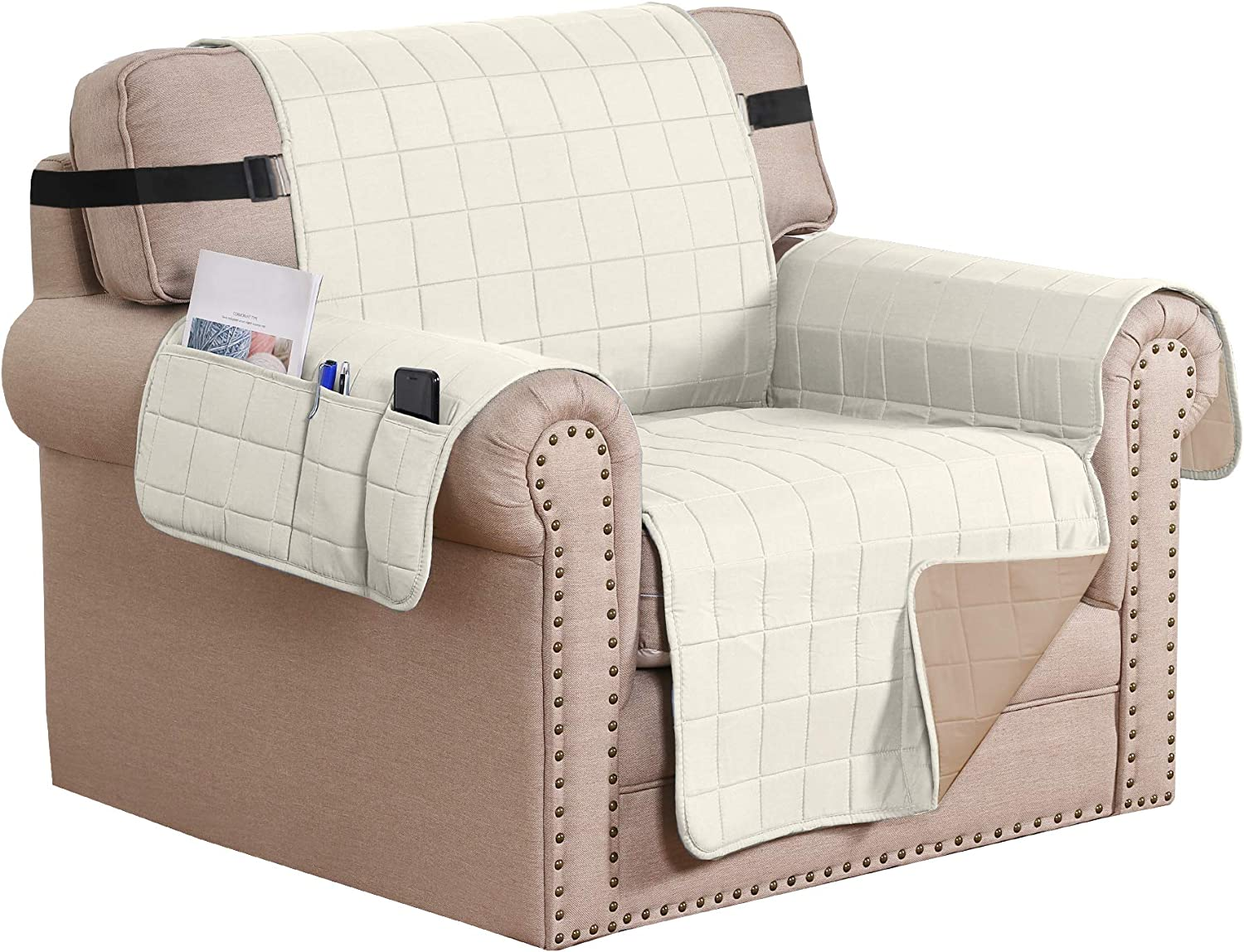 H.VERSAILTEX Reversible Foam Quilted Non-Slip Furniture Protector with Side Pockets, 2