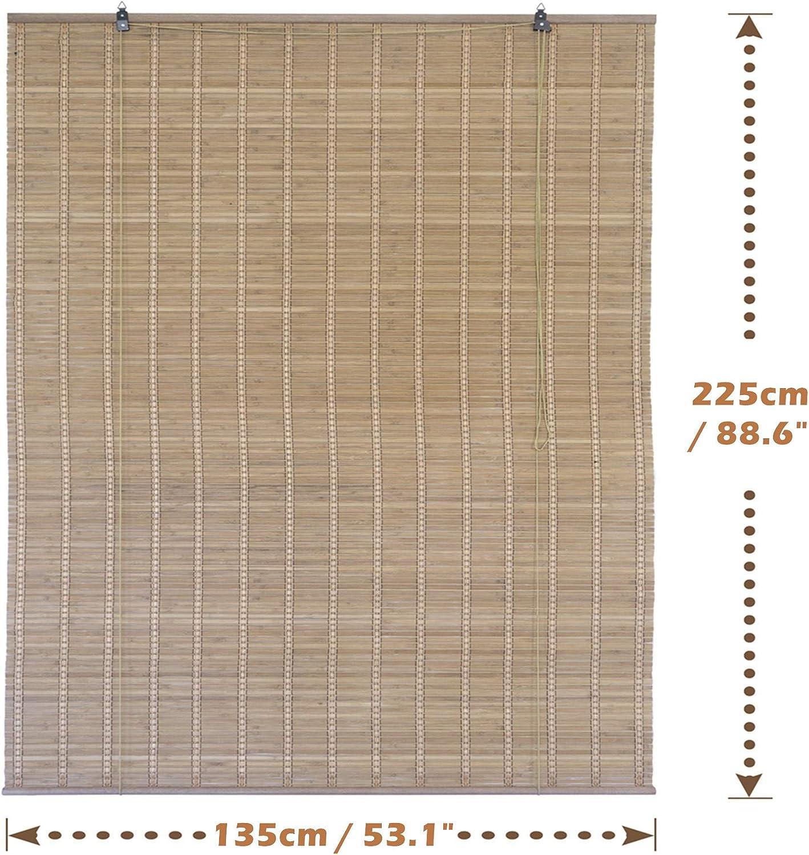 Solagua 6 Modelos 14 Medidas de estores de bambú Cortina de Madera persiana Enrollable (135 x 225 cm, Marrón): Amazon.es: Hogar