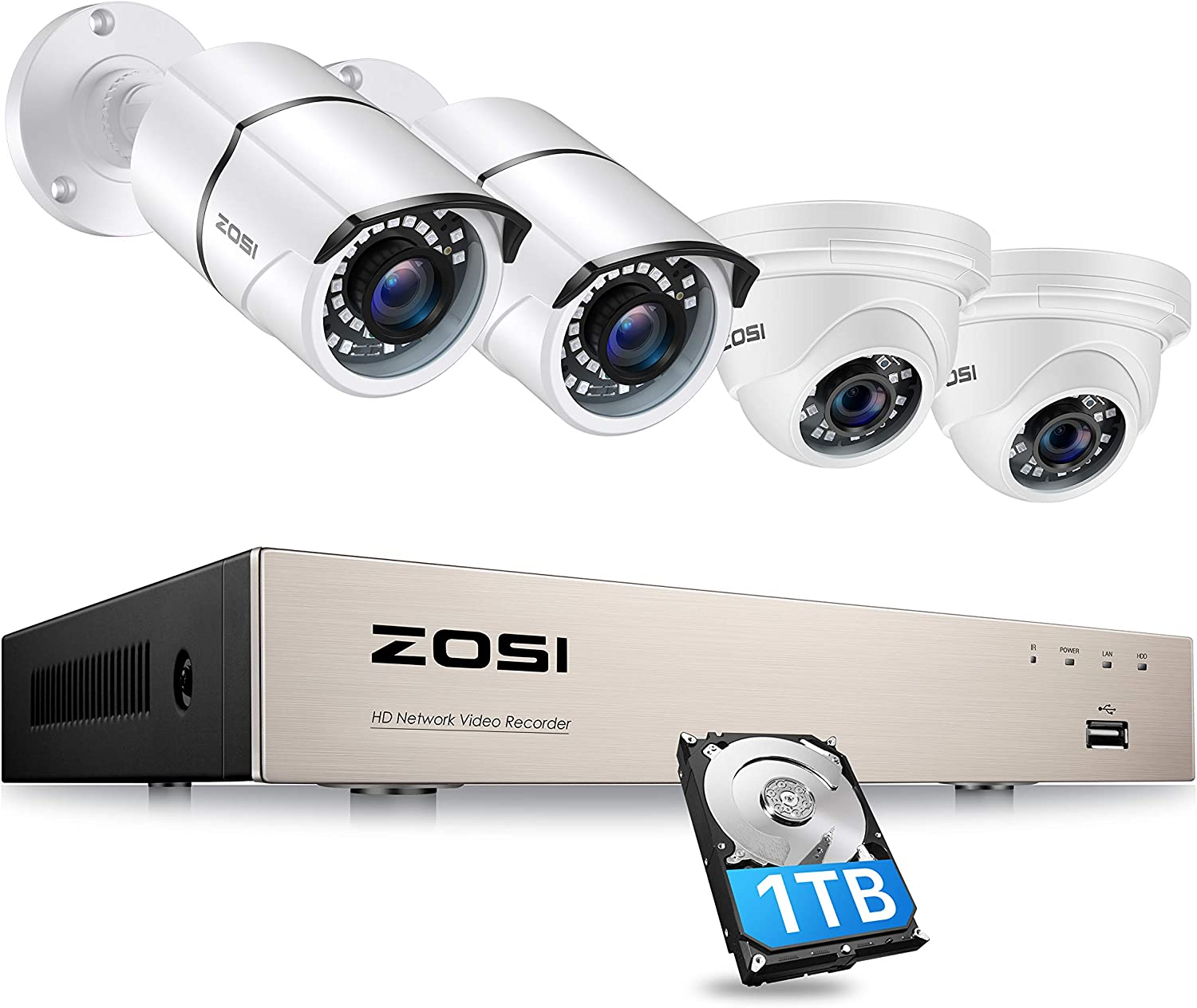 ZOSI 8CH 5MP PoE Home Security Camera System Indoor Outdoor,5MP 8-Channel H.265+ NVR with Hard Drive 1TB,4pcs Wired 5MP PoE IP Surveillance Cameras with 130ft Night Vision for 24/7 Recording