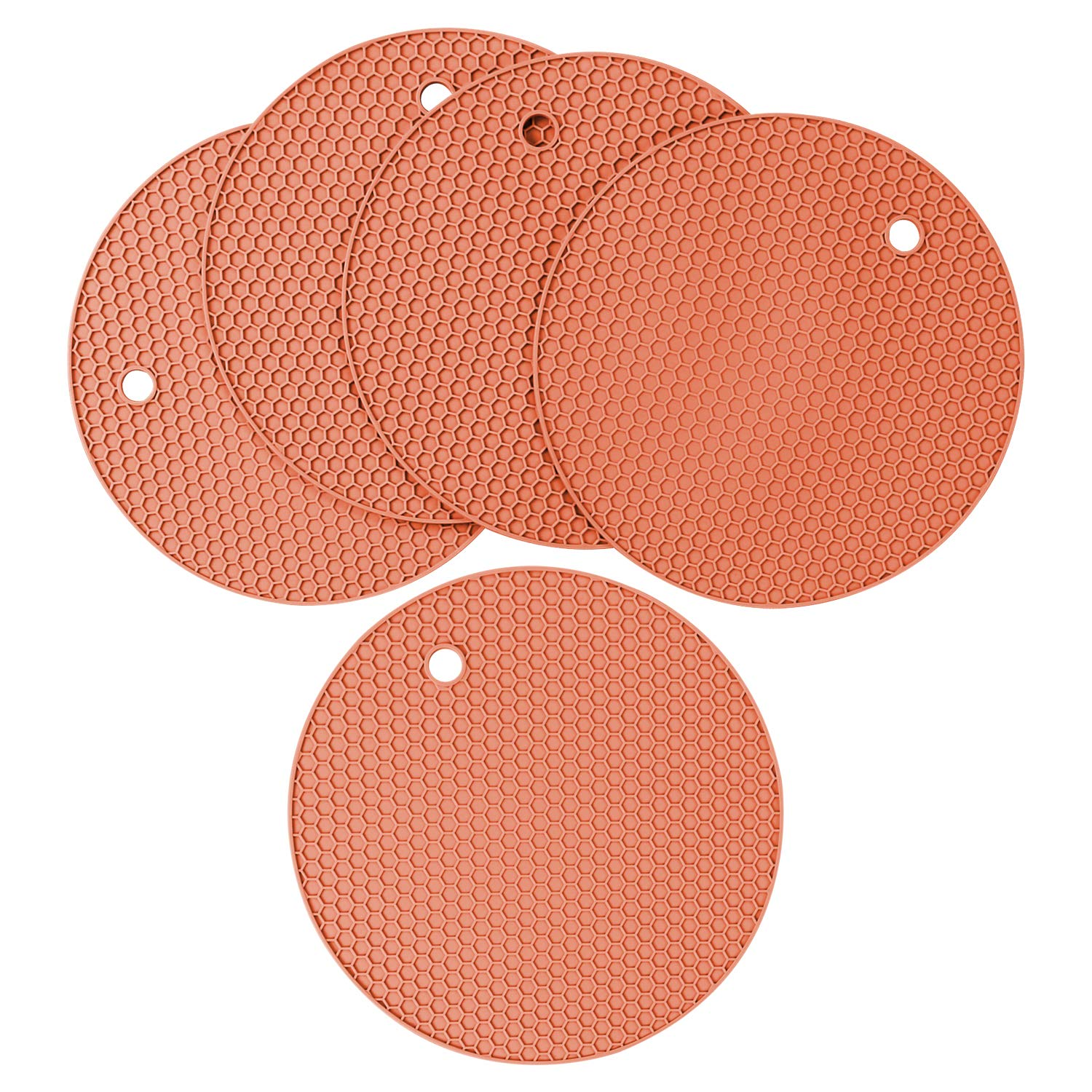 Heat Resistant Antislip Place Mat Multipurpose Non-Slip Insulation Honeycomb Rubber Hot Pads Trivet Silicone Pot Holder and Oven Mitts Coffee Brown Pack of 5
