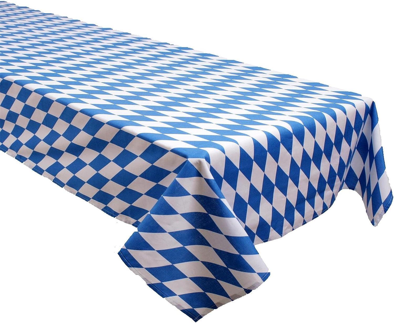Mantel, diseño de rombos del escudo de Baviera, color blanco azul, algodón, cerveza mesa, cerveza mesa mantel, País colores, Estado Bandera, algodón, blanco y azul, 130 x 270 cm: Amazon.es: Hogar