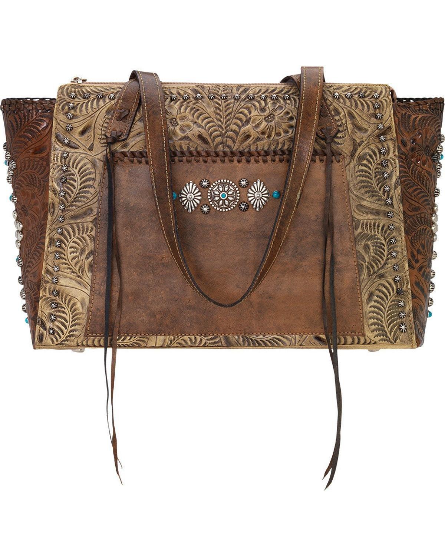 American West Women's Rio Grande Zip Top Tote Sand/Distressed Charcoal Brown Handbag