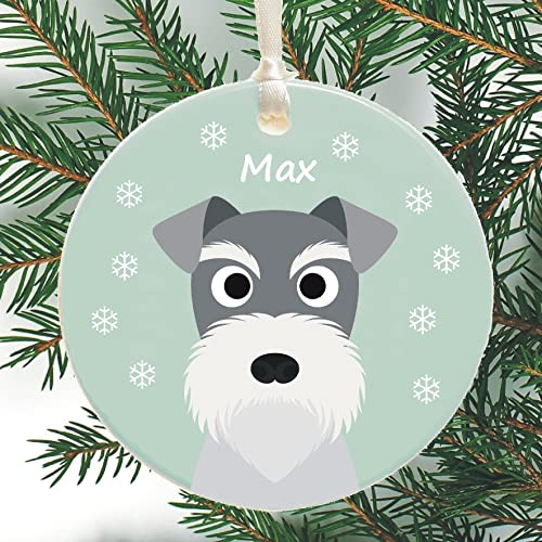 Ceramic Christmas Tree Decorations.Personalised Schnauzer Ceramic Christmas Tree Decoration