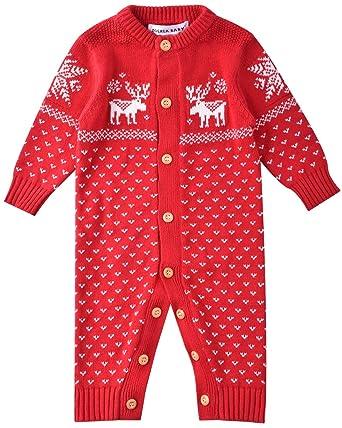 278e7202cb Zoerea Unisex Neugeborenes Baby Strick Strampler Lange Ärmel Watte  Weihnachten warme Pullover mit Elch Hirsche Schneeflocke
