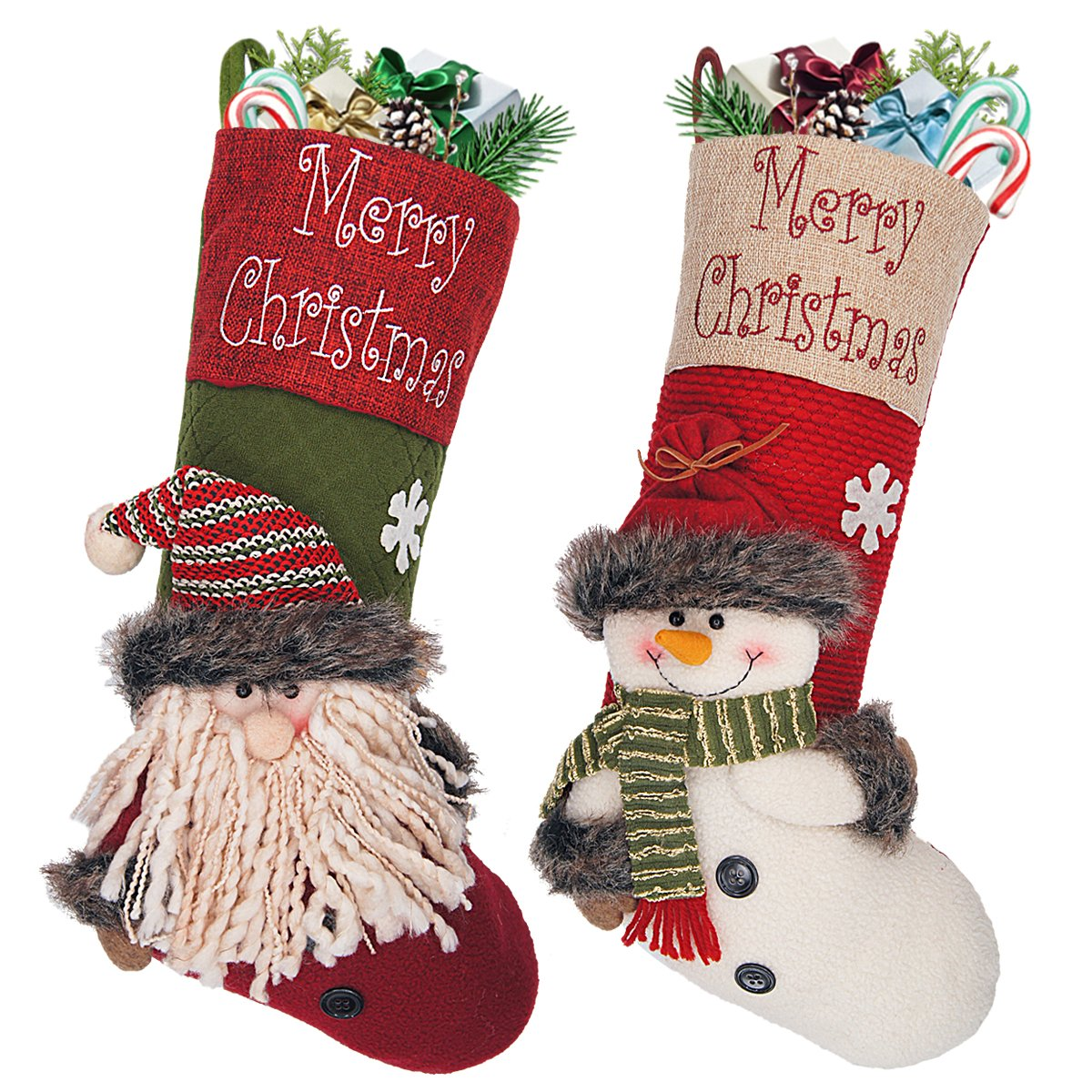LimBridge 18'' Large 3D Burlap Christmas Stockings for Kids, 2-Pack, Cute Santa & Snowman