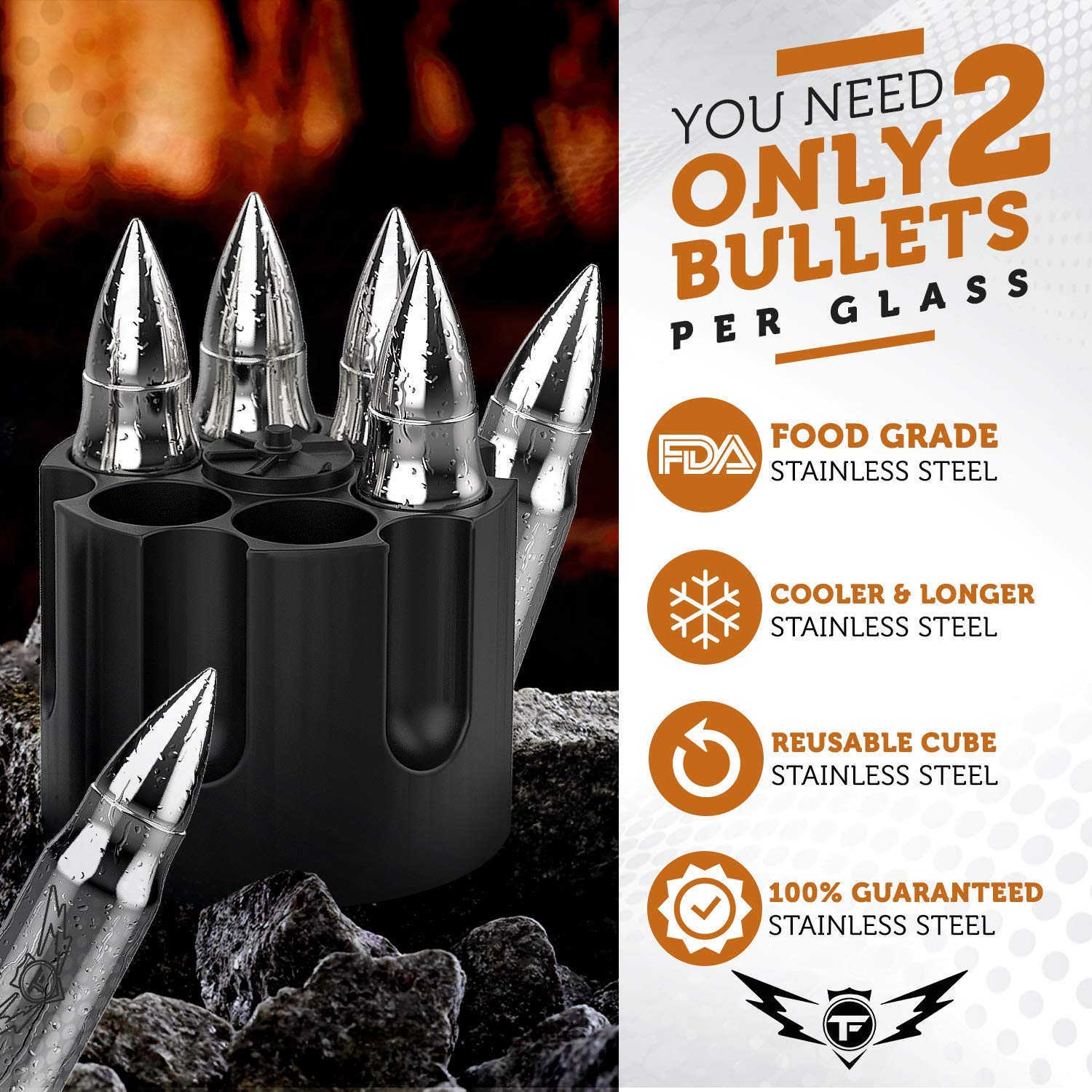 Bullet Shaped Metal Whiskey Stones - 6-Pack Stainless Steel Whiskey Rocks | Metal Ice Cubes to Chill Bourbon, Scotch in Your Whisky Glass - Cool Gifts for Men, Father's Day, Christmas Stocking Stuffer by TF TAKEFLIGHT (Image #4)