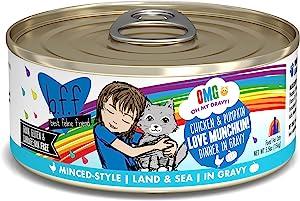 Weruva B.F.F. Omg - Best Feline Friend Oh My Gravy! Grain-Free Wet Cat Food Cans, Love Munchkin! Chicken & Pumpkin, 5.5-Ounce Can (Pack of 8)