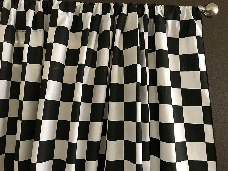 Zen Creative Designs Premium Cotton Checker Board Curtain Panel/Home Window Decor/Window Treatments/Checker Board/Race Flag/Chess Board/Decorative (36 Inch x 58 Inch, 2 Inch Black)