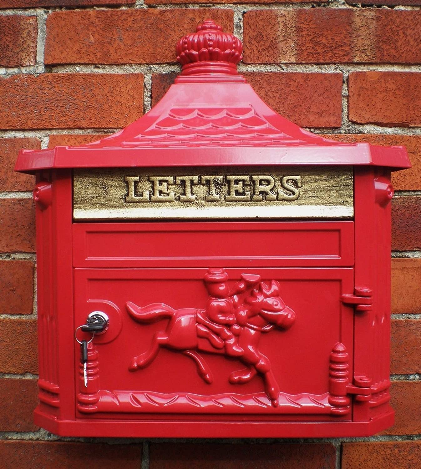 Antique Victorian Red Aluminium Wall Mounted Locking Letter Post Royal Mail Box Giftwarez