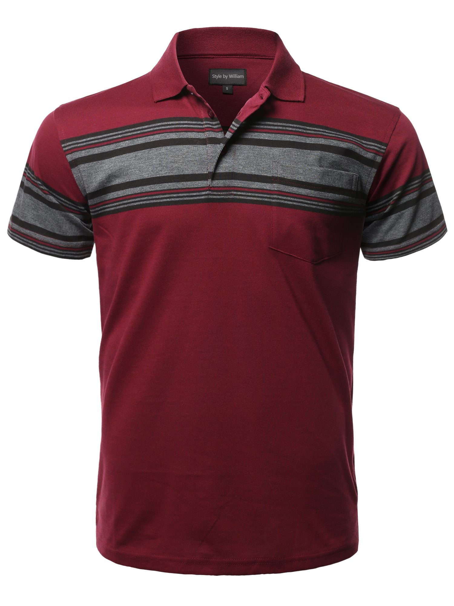 Style by William Casual Basic Striped Single Chest Pocket Short Sleeves Polo T-Shirt Burgundy XL