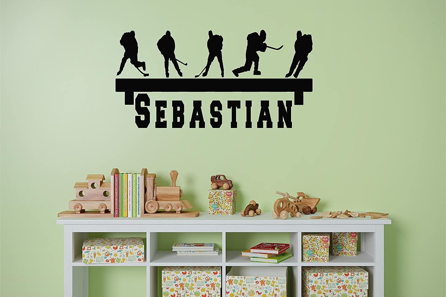 Personalized Name Hockey player Shelf looking customized Kids Name inspiration decal